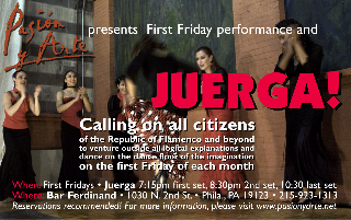 Come and join Pasion y Arte's first Friday's Tablao/Juerga at Bar Ferdinand