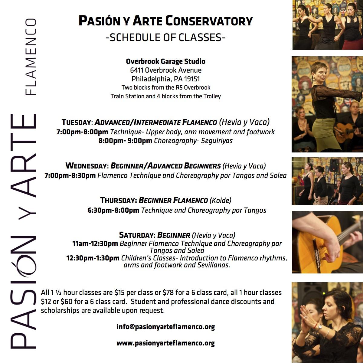 New PyA Conservatory Schedule